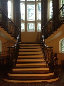 can imagine elegant Lady Mary or frumpy Lady Edith sashaying down this sweeping staircase