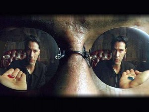 Neo in Matrix - red pill/blue pill scene - he chooses to go on his journey